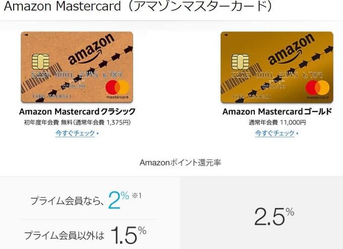 アマゾンマスターカード クラシックとAmazon MasterCardゴールドを比較